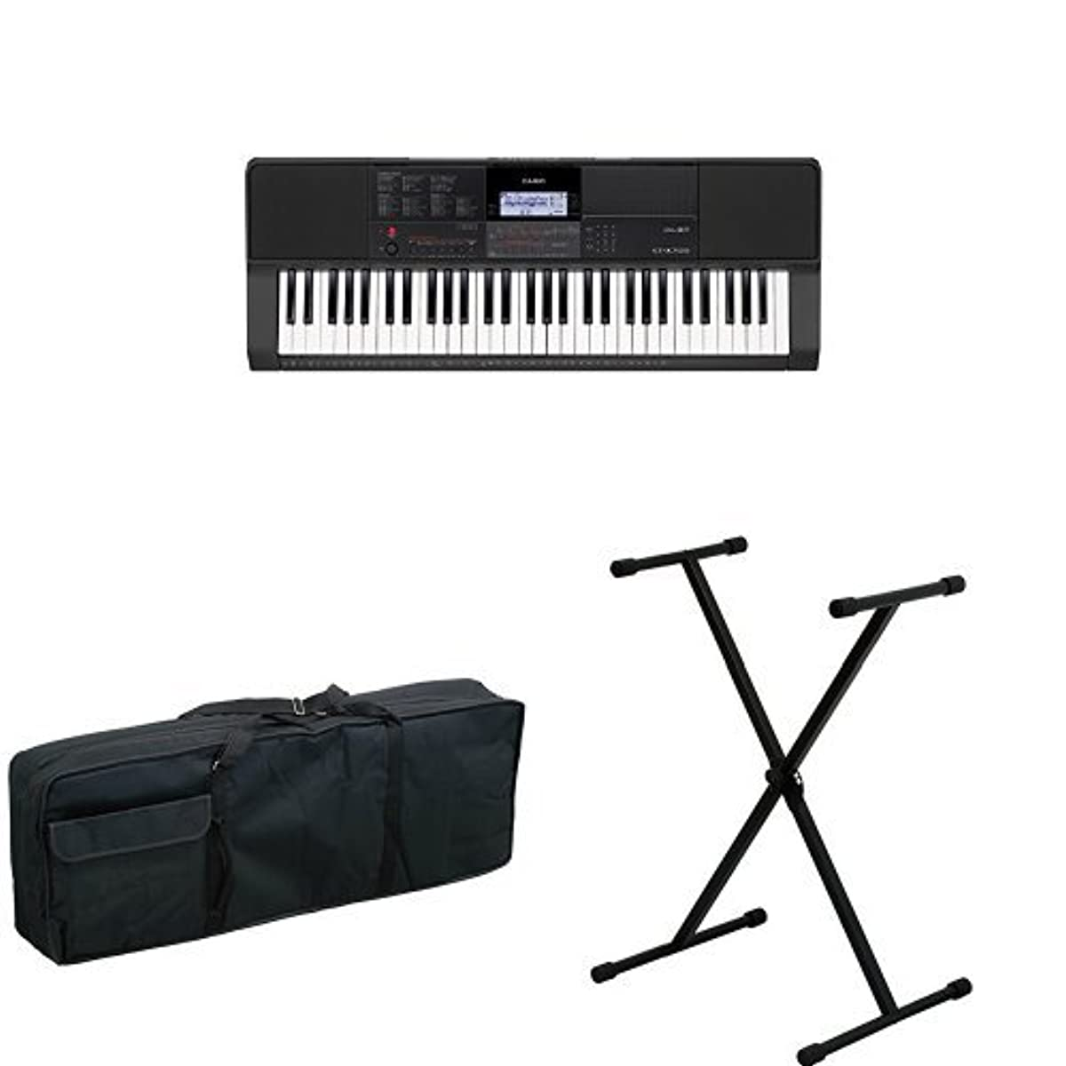 [해외] 카시오 전자 키보드 61건반 CT-X700 과 키보드 화이트 KBB-M 과 키보드 스탠드 KS-29 BLK 의 세트