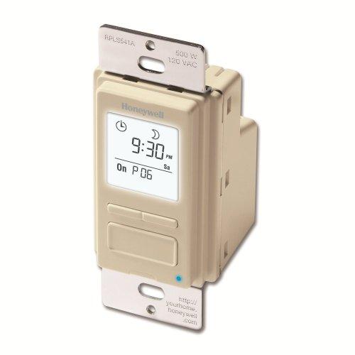 Honeywell RPLS541A1001 RPLS541A 7-Day Programmable Switch Timer, Light Almond