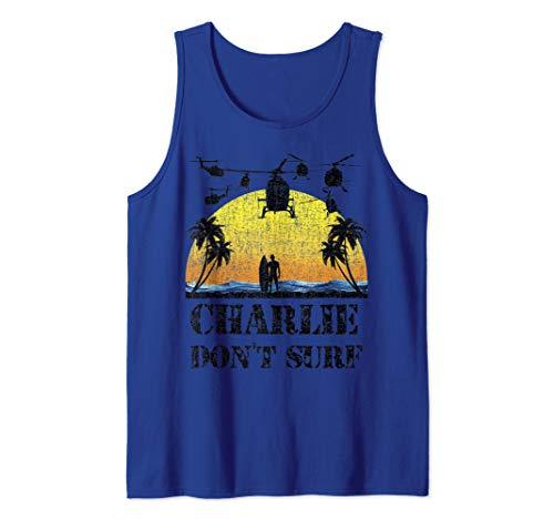 Military Vietnam Vintage Charlie Don't Surf Tee War Veteran  Tank Top