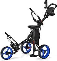 DORTALA Golf Push Pull Cart, Lightweight 3 Wheels Golf Push Cart, Golf Trolley W/Storage Bag & Foot Brake,