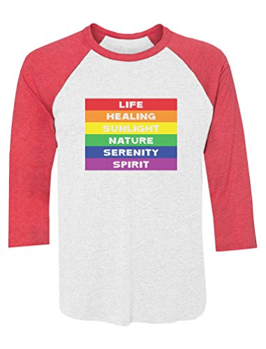 Rainbow Gay & Lesbian Pride Flag Meaning 3/4 Sleeve Baseball Jersey Shirt Small red/White