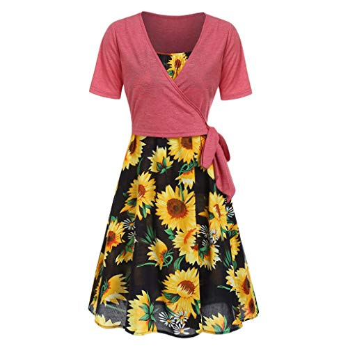 FAPIZI Women Summer Print Sunflower Cami Dress Bow Knot Bandage Top Plus Size Mini Dress Suits Swing T-Shirt