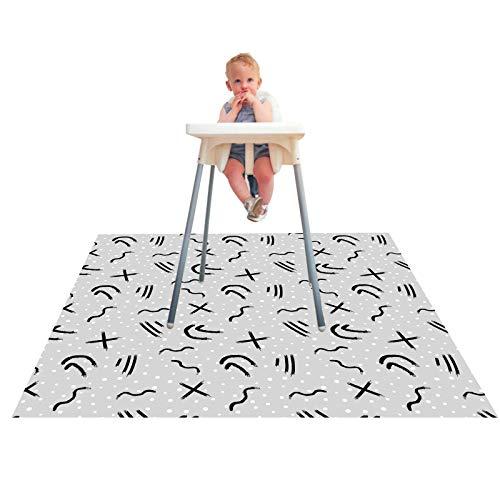 Paw Legend Washable Highchair Splat Mat for Floor- Anti-Slip Splash Mess Mat 53 X 53 -Under Highchair Mat-Food Catcher Art Craft Leak Proof Mat Doodle