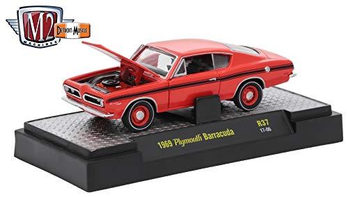 (M2 Machines 1969 Plymouth Barracuda (Matador Red) - Detroit Muscle Release 37 2017 Castline Premium Edition 1:64 Scale Die-Cast Vehicle (R37 17-06))