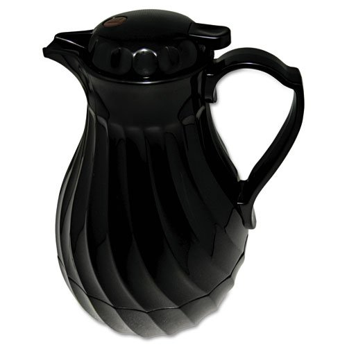 Polyurethane insulation keeps beverages hot or cold. - HORMEL CORP * Poly Lined Carafe, Swirl Design, 40oz Capacity, Black