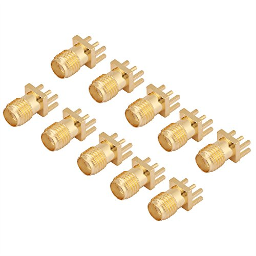 10Pcs SMA Female Jack Connector, Brass PCB Clip Edge Mount Adapter