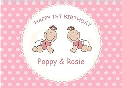 Image Unavailable Not Available For Colour Personalised Twins First Birthday Card