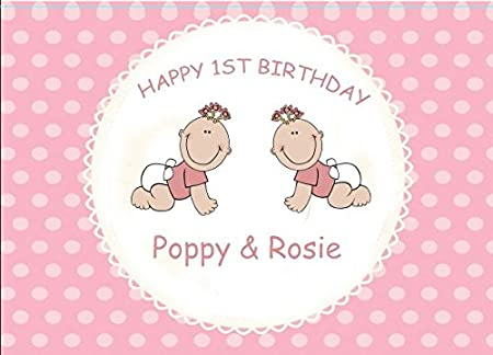 Personalised Twins First Birthday Card