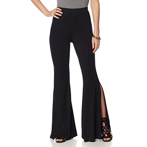 Stretch Knit Wide Leg Pants (Wendy Williams Drama Stretch Wide-Leg Knit Pant Side Slits Black XL New 538-027)