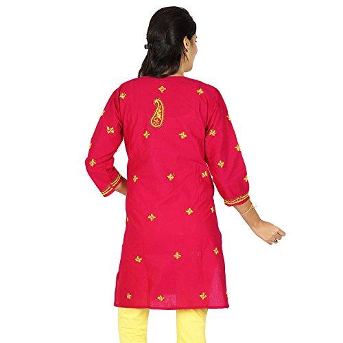 India Chikan Mujeres bordado étnico regalo vestido para su Kurti ocasional del algodón Magenta y amarillo