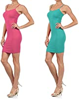 Yelete Women 2 Pack Nylon Cami Slip Dresses (Teal & Magenta, One Size)