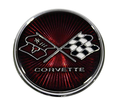 - Keen Parts C3 Corvette Gas Door Emblem Crossed Flags