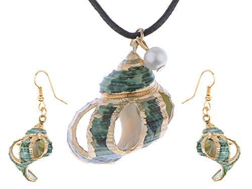 Alilang Multicolor Golden Accent Ocean Seashell Couch Mermaid Sea Witch Drop Dangle Earring Necklace Set