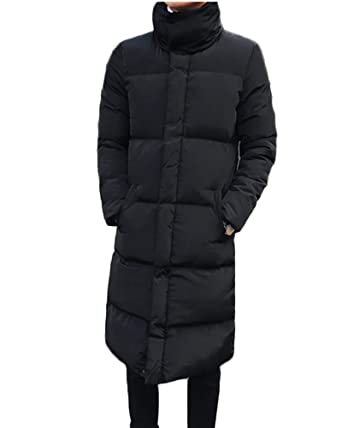 ff1a30de5 Mens Stand Collar Long Down Jacket Plus Size Winter Warm Padded Puffer Coat  Parka: Amazon.co.uk: Clothing