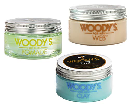 Pomade Web (Woody's Men's Hair Styling Combo - 3.4 Ounce Pomade, Web, and Clay Bundle)