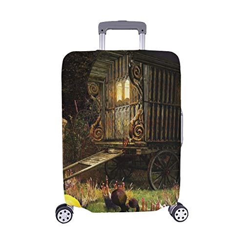Halloween Scenery Old Wagon On Magic Spandex Trolley Case Travel Luggage Protector Suitcase Cover 28.5 X 20.5 Inch