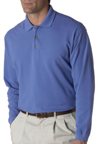 UltraClub mens Long-Sleeve Classic Pique Polo(8532)-Cornflower-L