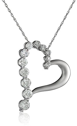 10k White Gold Diamond Journey Heart-Shaped Pendant (1 cttw, H-I Color, I2-I3 Clarity)
