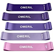 #LightningDeal OMERIL Resistance Loop Exercise Bands with Instruction Guide and Carry Bag, Set of 5