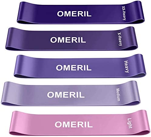 OMERIL Resistance Loop Exercise Bands with Instruction Guide and Carry Bag, Set of five