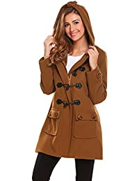 Womens Hoodie Plus Size Jacket Wool Blend Duffle Toggle Pea Coat