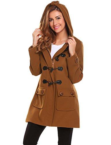- ELESOL Women's Hoodie Plus Size Jacket Wool Blend Duffle Toggle Pea Coat Brown S