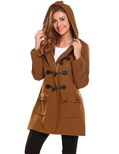 ELESOL Women's Hoodie Plus Size Jacket Wool Blend Duffle Toggle Pea Coat Brown - Coat Duffle