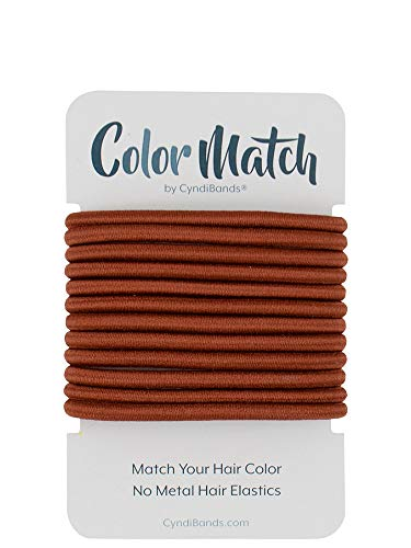 Auburn Red Color Match No-Metal Elastics Hair Ties for Red Hair - 12 Count