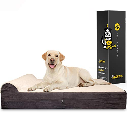 KOPEKS 7-inch Thick High Grade Orthopedic Memory Foam Dog Bed with Pillow and Easy to Wash Removable Cover with Anti-Slip Bottom. Free Waterproof Liner Included - Jumbo XL for Large Dogs - Plush