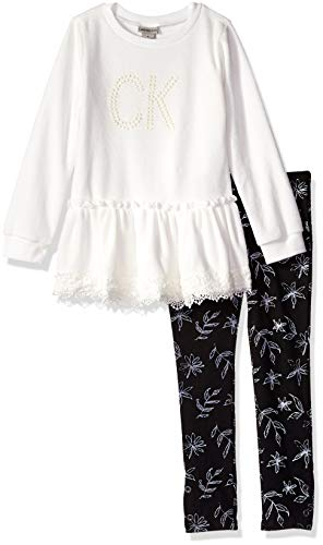 - Calvin Klein Girls' Little 2 Pieces Tunic Legging Set, Marshmallow/Print, 6X