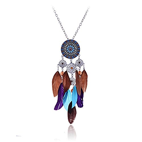 Lureme Women Silver Tone Native American Dream Catcher Colorful Feather Pendant Necklace