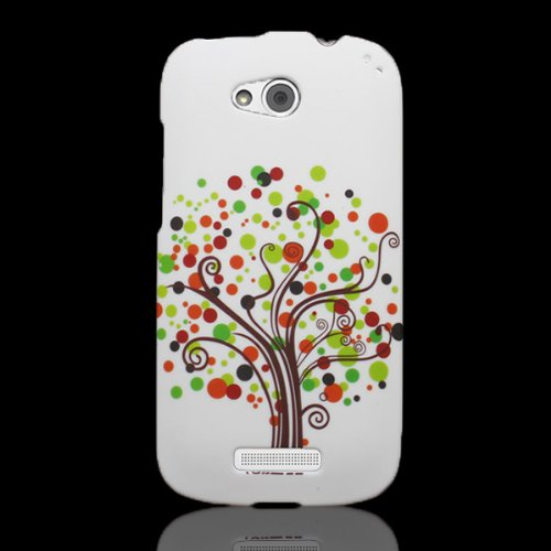 HTC One VX Case, CoverON [Snap Fit Series] Hard Design Slim Protective Phone Cover Case for HTC One VX - Contempo Tree