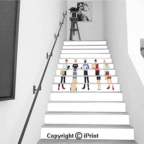 Stair Stickers Wall Stickers,13 PCS Self-Adhesive,Make Your Home Unique,Collection of Smiling delivery Men Set of Courier Boys Holding Packaged parcels Pizza Boxes Paper Bags with Food Flat - Cartoon Flat Bags