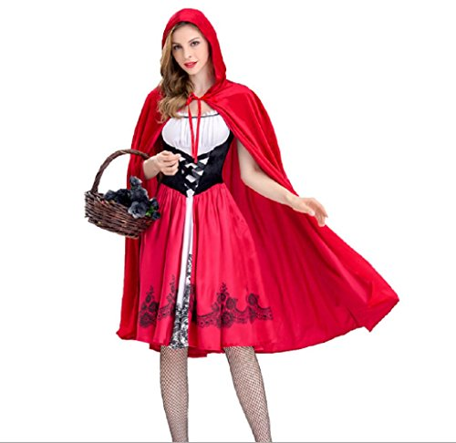 Dark Red Riding Hood (Halloween Little Red Riding Hood Women's COSPLAY Costumes Stage Dress (L))