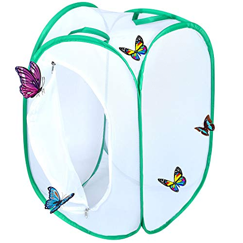 Qingo Collapsible Insect and Butterfly Habitat cage Terrarium Pop up Open - 23.6 Inches Tall (White) (White) -