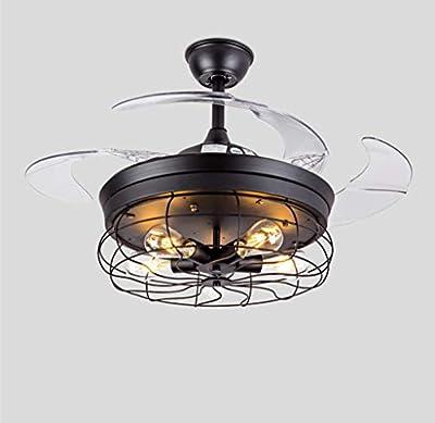 "MoreChange 42"" Retro Ceiling Fan Lights with Remote Control Industrial Pendant Lighting Fixtures Loft Fans Chandelier Lamp Retractable Acrylic Blades 3 Fan Speed Black E27 Led Bulbs"