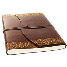 Romano Maya Gold Handmade Italian Recycled Leather Journal Large A4 Size (23cm x 30cm)