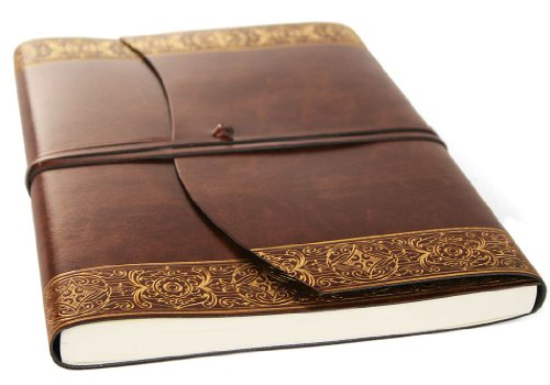 Romano Maya Gold Handmade Italian Recycled Leather Journal Large A4 Size (23cm x 30cm)