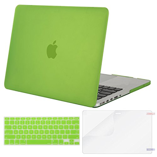 MOSISO Case Only Compatible MacBook Pro (W/O USB-C) Retina 13 Inch (A1502/A1425)(W/O CD-ROM) Release 2015/2014/2013/end 2012 Plastic Hard Shell & Keyboard Cover & Screen Protector,Translucent Greenery