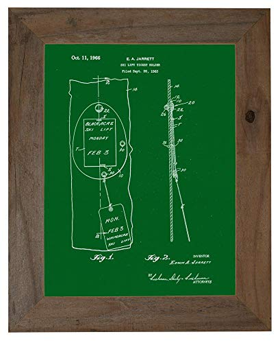 - Ski Lift Ticket Holder Patent Art Green Print in a Barnwood Frame (20