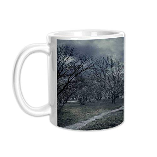 Halloween Stylish White Printed Mug,Halloween Design with Gothic Haunted House Dark Sky and Leafless Trees Spooky Theme Decorative for Living Room Bedroom,3.1