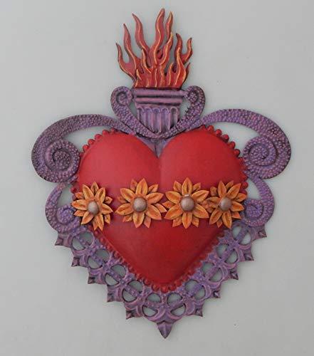 Art Folk Handmade - Color y Tradicion Mexican Tin Heart Wall Hanging Folk Art Handmade Flowers Heart # 102