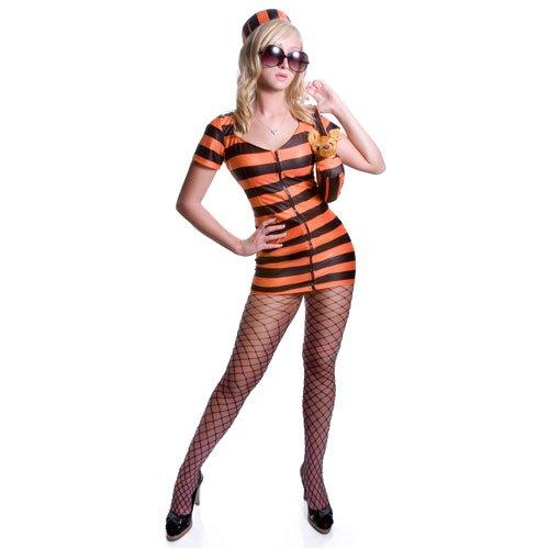 Amazon.com: Adult Sexy Orange Striped Prisoner Costume Set ...