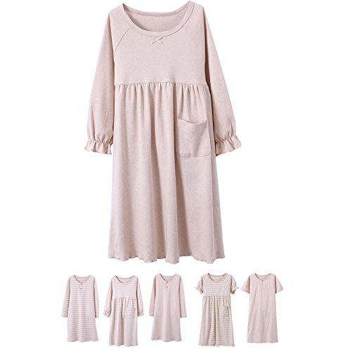 Abalacoco Girls Kids Organic Cotton Nightgown Sleepwear Dress Soft Home Dress Summer Autumn Short Long Sleeve Soft Wear 4-12T