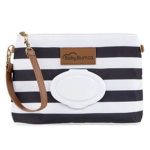 Baby Bumco Diaper Clutch Bag - Water Resistant; Lightweight; Refillable Wipes Dispenser; Portable Changing Kit (Jett Black)