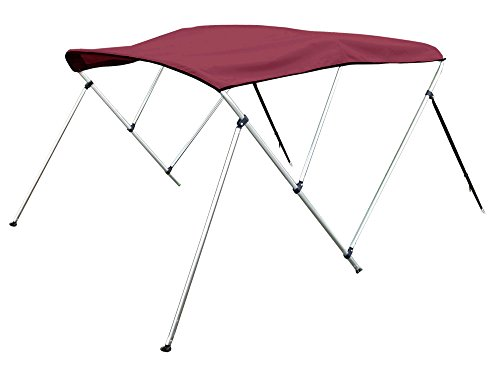 3 Bow Bimini Top Boat Cover 46'' H X 73''-78'' W 6' Long, Includes Rear Support Poles, Burgundy by Marine and RV Direct
