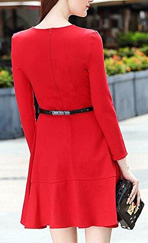 Long Round Solid Flare Sleeve Swing Dress 2 Mini Jaycargogo Women's Neck Slim 0qwncEpI