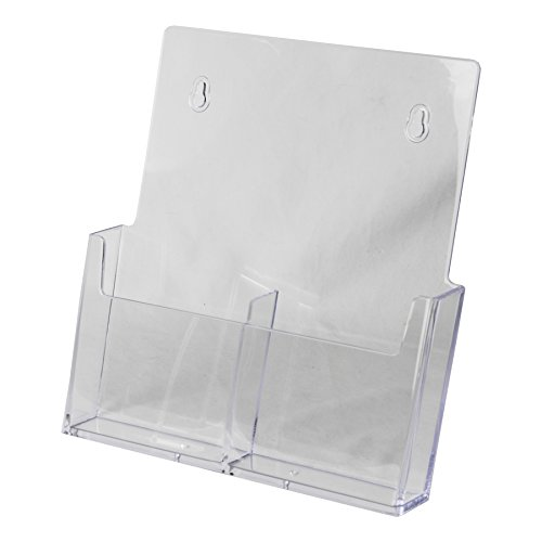 Clear-Ad - LHW-M131 - Acrylic Wall Mount Trifold 2-Tier Brochure Holder 4 x 9 (Pack of 4)