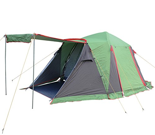 Cheap FUNS Instant 4-5 Person Easy Instant Push Up Family Dome Tent with Awning for Camping, Hiking, Lightweight Backpacking, Beach, Shade Canopy, Cabin Shelter (Dark Green)
