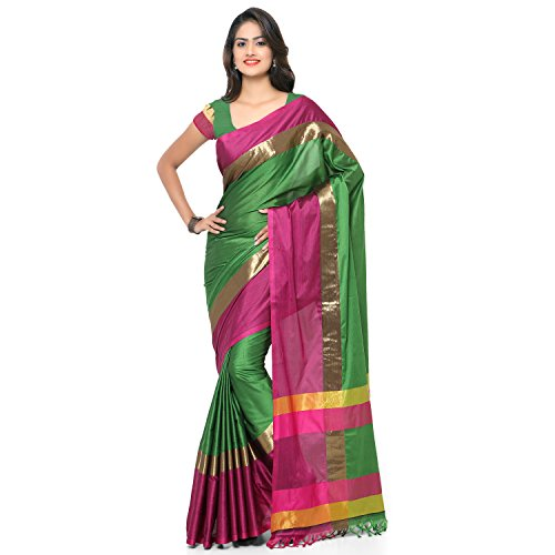 Nanda Silk Mills Cotton Silk Traditional Saree With Unstitched Blouse Piece (Green & Pink)